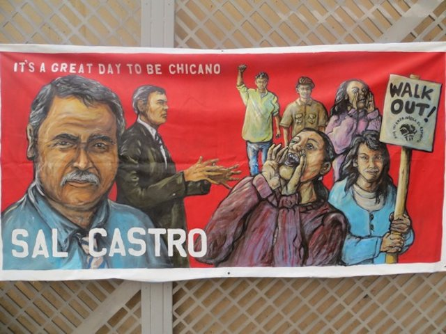 Banner of Sal Castro, highlighting his work as an activist and educator (Photo by Diego Rentería).